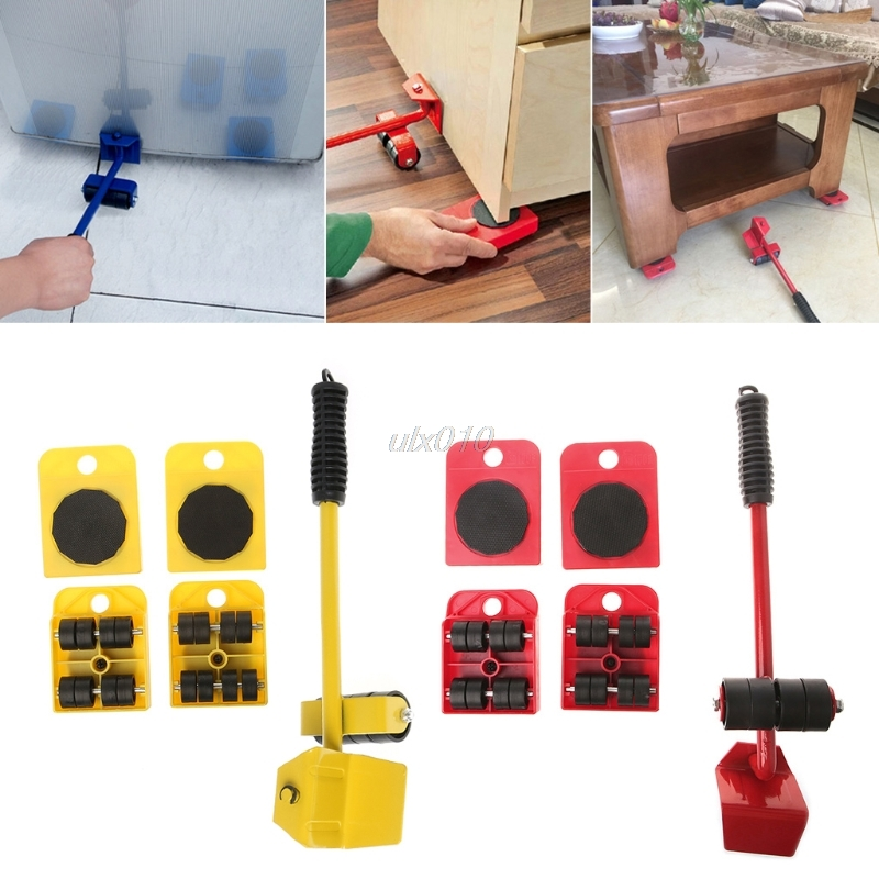 цены 5Pcs Furniture Transport Roller Set Removal Lifting Moving Tool Heavy Move House Tool G09 Drop ship