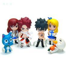 6Pcs/Lot 6cm Anime Fairy Tail Natsu / Gray / Lucy / Erza Action PVC Figure Toy