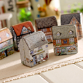 1 pcs creative mini European style small house candy storage box wedding favor tin box zakka cable organizer container household
