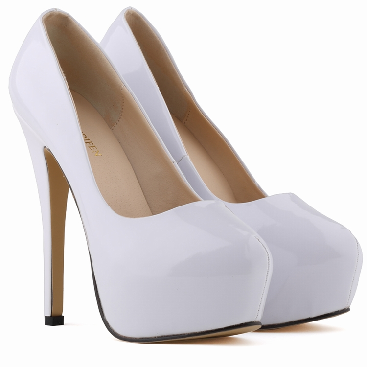 LOSLANDIFEN Fashion New PU Leather Women Pumps Casual Solid Platfrom High Heels Shoes Ladies Party Pumps 817-1PA