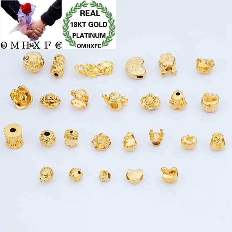 OMHXFC Europeo della Donna di Modo Unisex Del Partito Di Compleanno Regalo di Nozze Cuore Buddha 18KT Oro Pendente di Fascino piccola Biglia di PN120