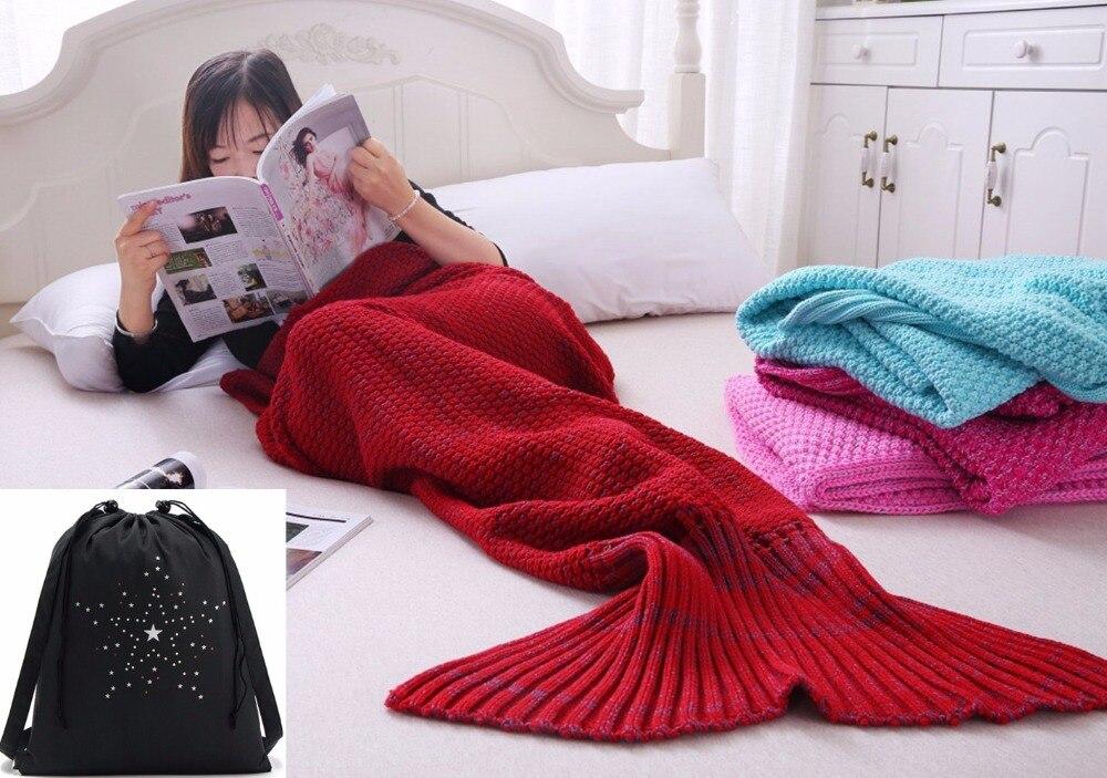 Knitted Mermaid Tail Blanket Cotton and Woolen Crochet Snuggle Mermaid Blanket for Adult Teens All Seasons Sleeping Blankets mattress