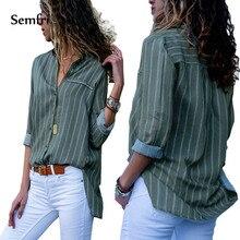 Semfri Striped Women Shirt Green Long Fashion Shirt with Button Long Sleeves Women Top 2019 Sexy V Neck Skin-care Streetwear