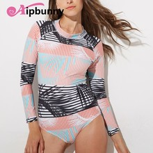 High Neck Zurück Zipper Sommer Rash Guards Badeanzug Lange Ärmeln Push-Up Konservativ Spa Strand Bad Anzug Gestreiften Frauen Bademode(China)