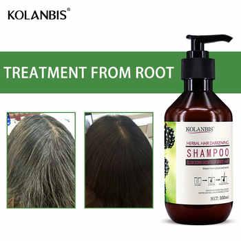 Green natural nourishing professional hair care herbal white hair shampoo for anti gray hair nutrition treatment hair darkening