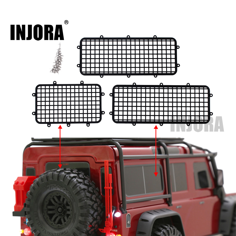 INJORA Metal TRX4 Window Mesh Protective Net for 1/10 RC Crawler Car Traxxas Trx-4 Trx 4 Upgrade Parts injora trx4 mud flaps rubber fender with ford sticker for 1 10 rc crawler traxxas trx 4 82046 4 ford bronco ranger xlt