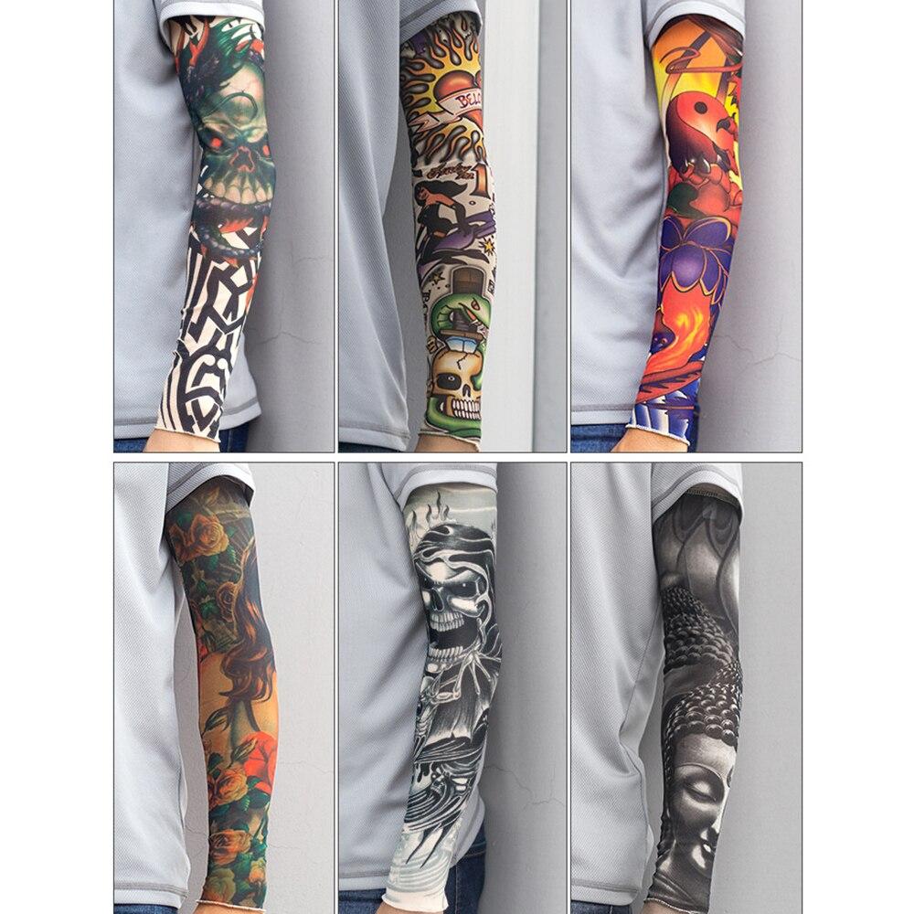 1PCS Outdoor Riding 3D Tattoo Printing Sports Mountaineering Anti-UV Stretch Sunscreen Sleeves/ Men Women Warm Design Arm Sleeve