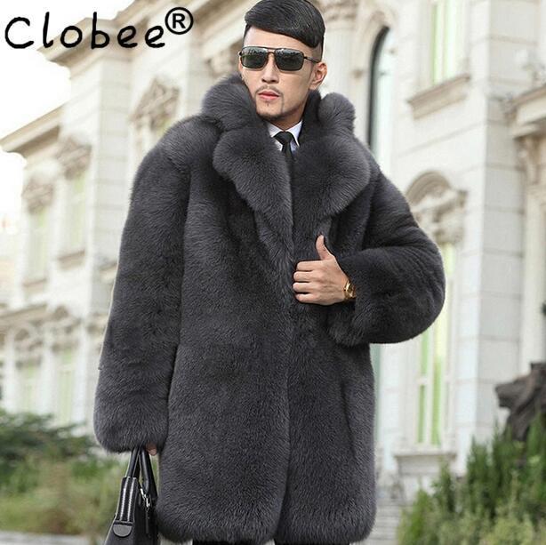Grey warm faux imitation mink rabbit fur coat mens leather jacket men coats villus suit collar winter loose thermal outerwear