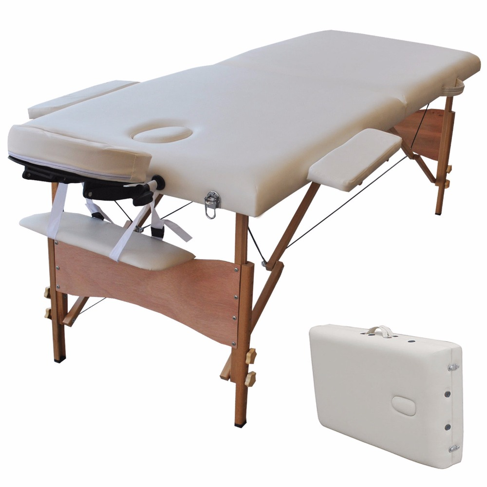Goplus 84L Portable Massage Table Folding Facial SPA Bed Tattoo with Free Carry Case Modern Salon Beauty Massage Table HB78775 70cm wide 3 section portable massage table aluminum facial spa bed tattoo w free carry case salan furniture spa bed tattoo chair