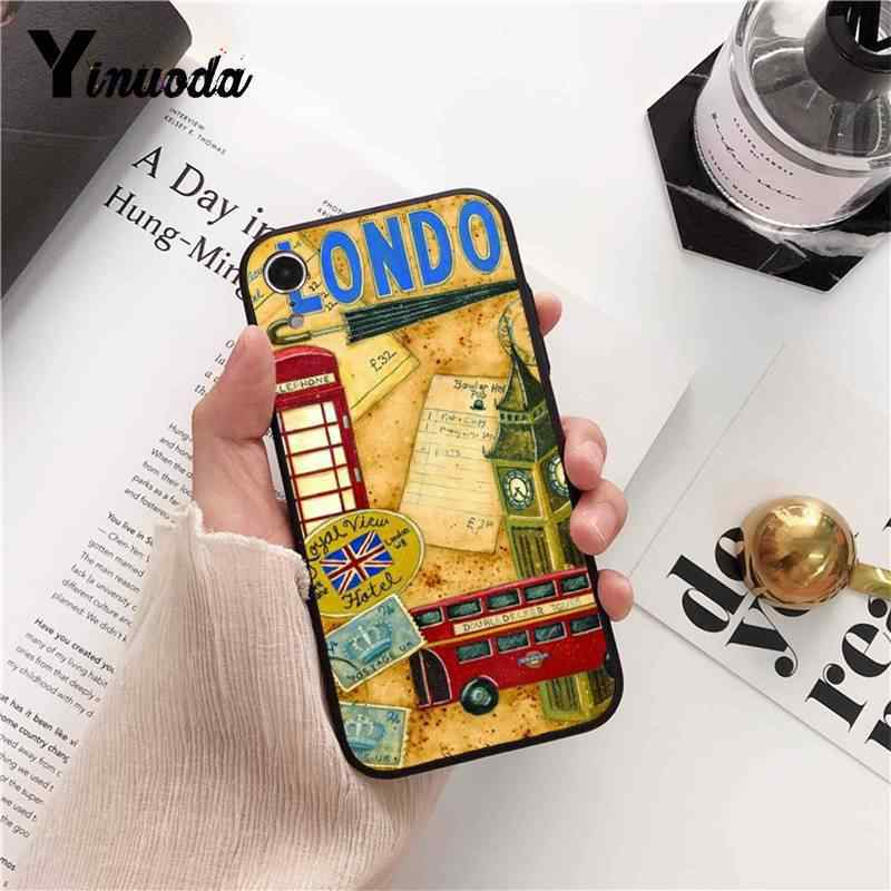 Yinuoda style london bus england telephone vintage british Phone Case for iPhone 8 7 6 6S 6Plus X XS MAX 5 5S SE XR Cover