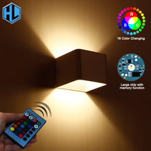 3W Led Wall Lamp RGB Modern Aluminum With Remote Controller Decoration home stair wall light Sconce fixture Lighting for Party