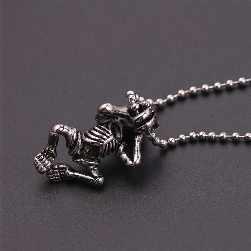 Retro Antique Steampunk szkielet projekt naszyjnik czarna skóra czaszka ze stali nierdzewnej naszyjnik dla mężczyzn chłopiec Goth biżuteria