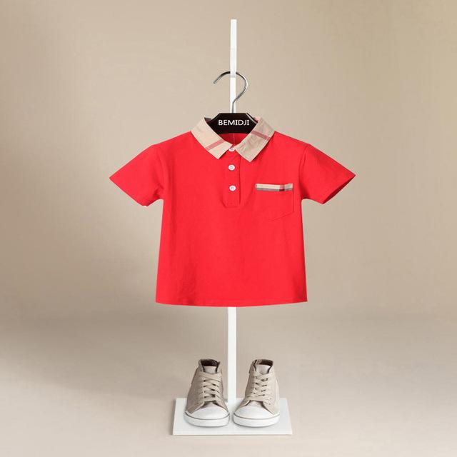 2017 marca de design de verão T-shirt para os meninos do algodão lapela malha 4-color T-shirt infantil camisa do bebê das crianças da menina do menino roupas