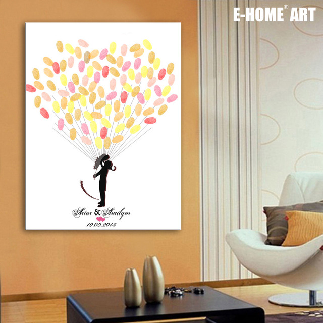 Fingerprint Tree Signature Canvas Painting Wedding Gift Diy Decoration Party Includes 6