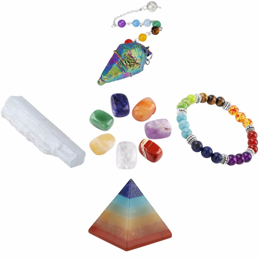 TUMBEELLUWA Healing Crystal Kit,Selenite Stick,7 Chakra Tumbles Stones,Pendulum,Energy Pyramid,Chakra Bracelet Meditation Set northern europe old master cross seven chakra scepter cosmic energy crystal pendant marriage love career fortune official career