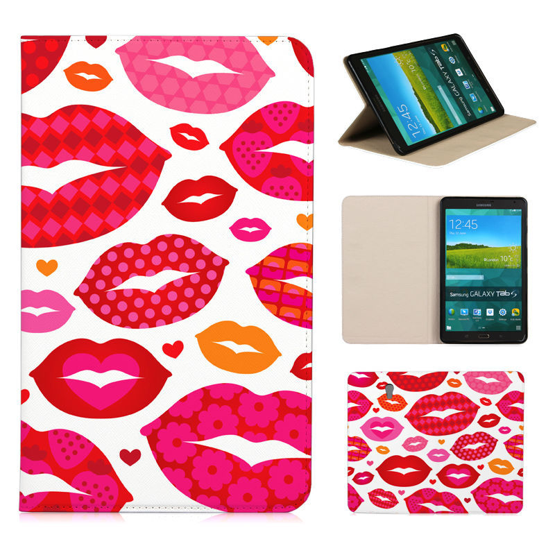 BTD Fashion Kiss pattern printing flip Cover for SAMSUNG GALAXY Tab S T700 8.4 leather case stand sleeve Free screen film