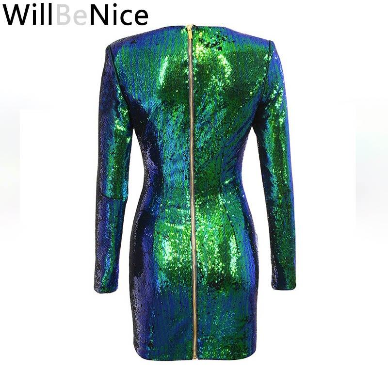 Di Vestito Da Mini Lunghe 2018 Partito Willbenice Alta Inverno Le Donne  Nuovo Per Modo A Qualità Arrivo Maniche Verde C5wcpF 928e3994911