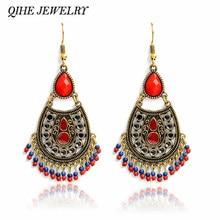 acfe4db14d4a Vintage chandelier pendientes piedra roja colgante pendiente declaración  joyas de estilo bohemio Boho pendientes para las mujere.