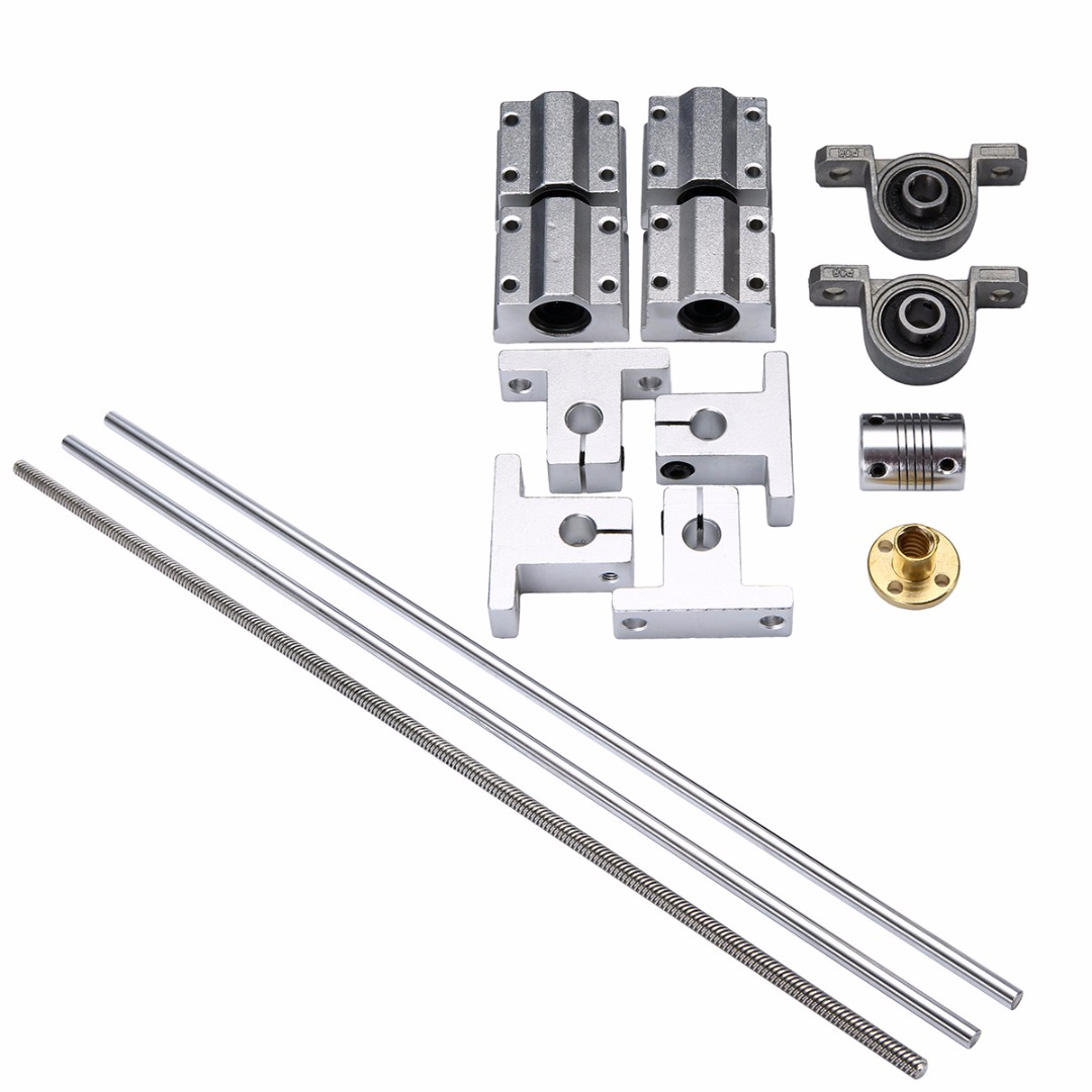 500*8mm T8 Linear Guide Rails Shaft Support Stainless Steel Screw Lead Nut Bearing Blocks Linear Slide Block Set Mayitr 500 8mm t8 linear guide rails shaft support stainless steel screw lead nut bearing blocks linear slide block set mayitr