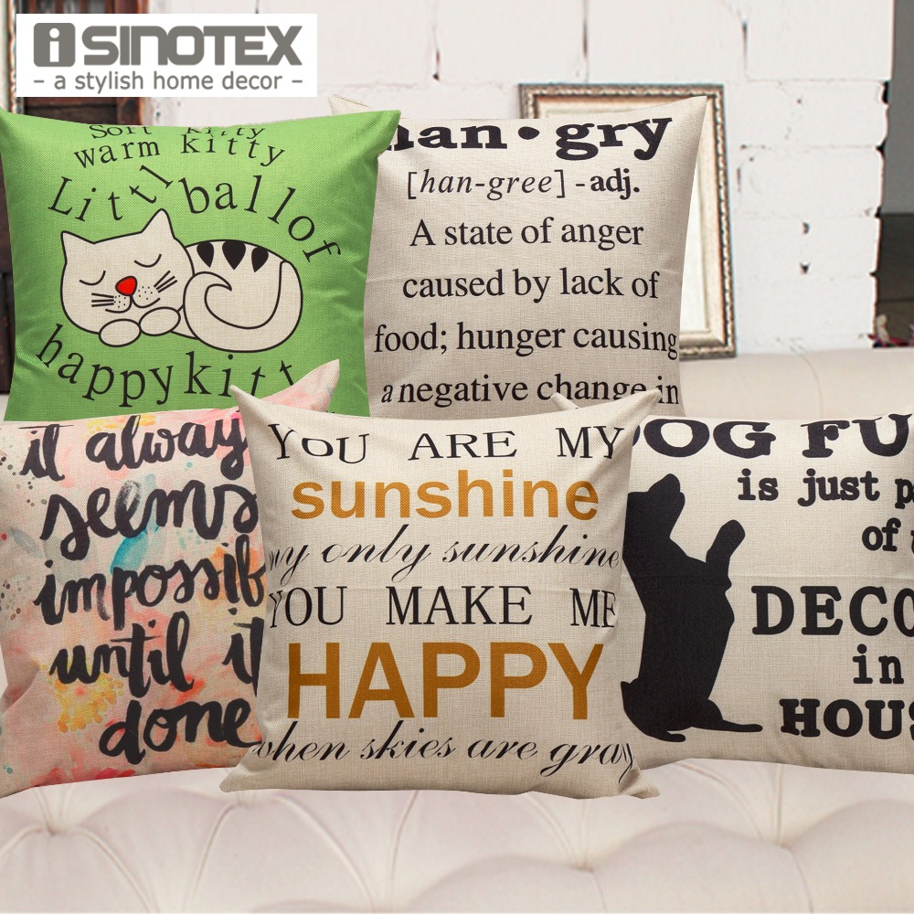 Home Cushion Cover Decoration Sofa Seat Living Bed Room Linen Throw Pillow Cases With Letters Printing 1 PCS/Lot