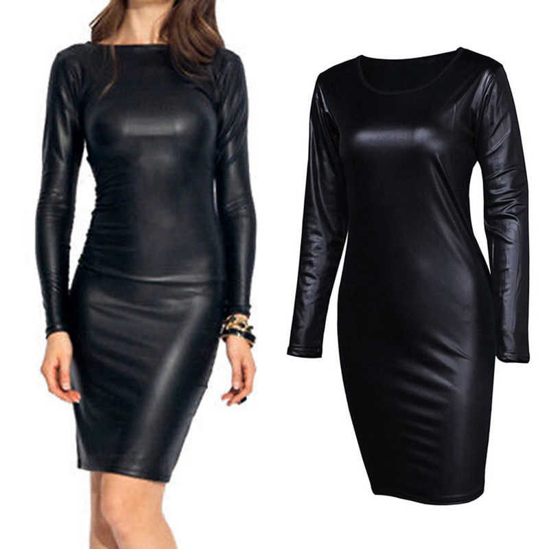 Women Sexy PU Leather Dress Wet Look Office Ladies Pencil Dress O neck Long Sleeve Black Bodycon Vestidos