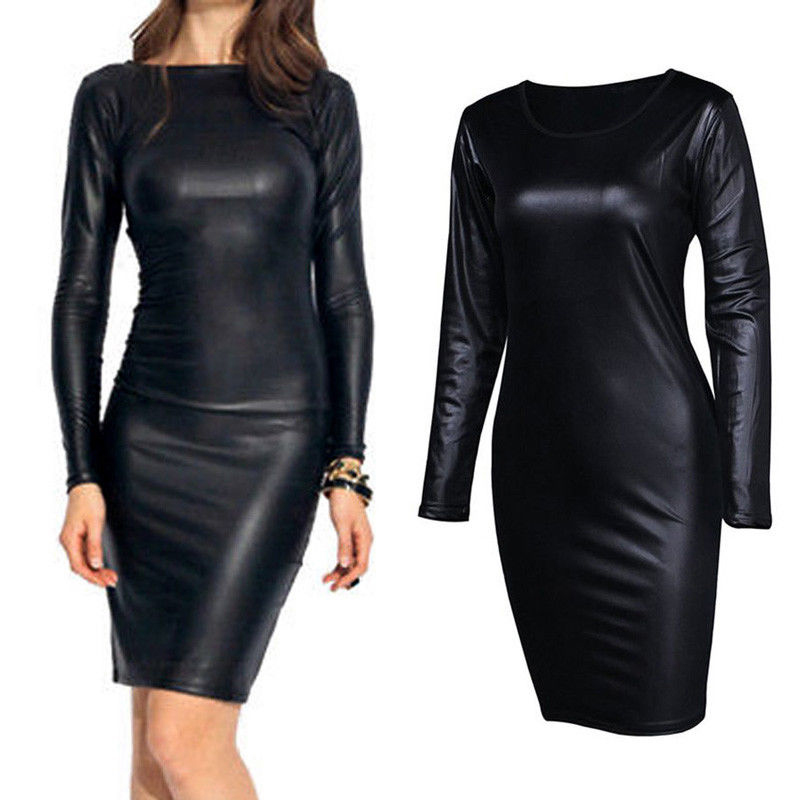 Women Sexy PU Leather Dress Wet Look Office Ladies Pencil Dress O Neck Long Sleeve Black Bodycon Vestidos