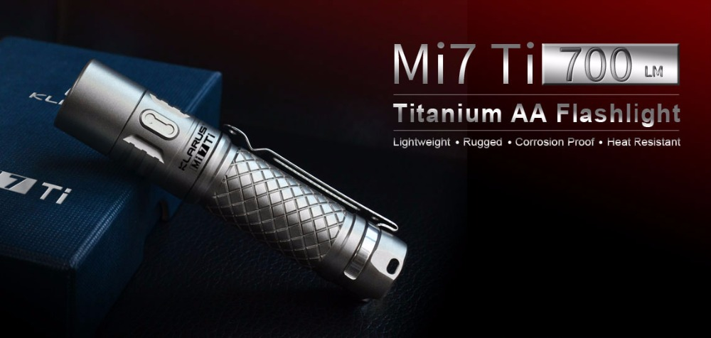 KLARUS Mi7 Ti LED Flashlight CREE XP-L HI V3 LED klarus mi7 ipx8 mini led flashlight torch power by aa or 14500 battery cree xp l hi v3 lamp 700 lumens lantern smart indicator