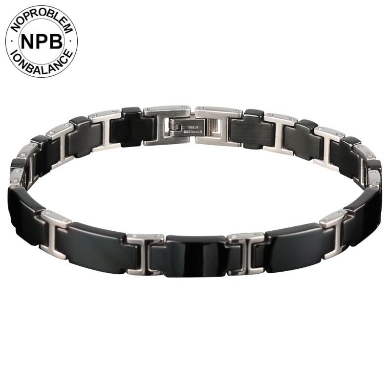 Noproblem antifatigue easy-gancio ion balance terapia di lusso fitness girocollo perline tourmaline magnetico germanio uomo braccialetto