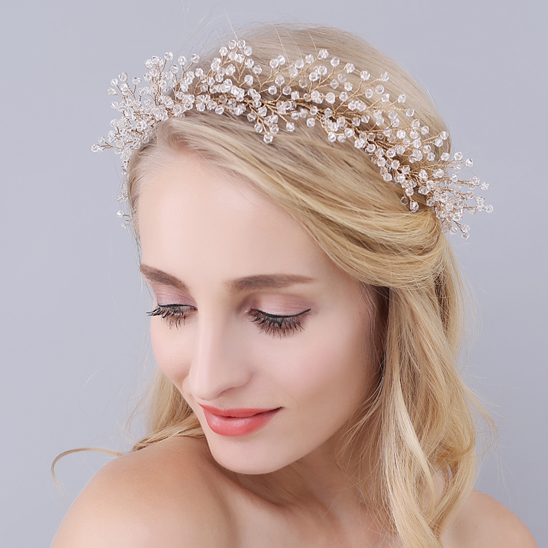 2017 New Europe Style Bridal Headband Women's Hair Accessories Ladies White Crystal Beads Hairband Wedding Dress Accessory O0944 купить