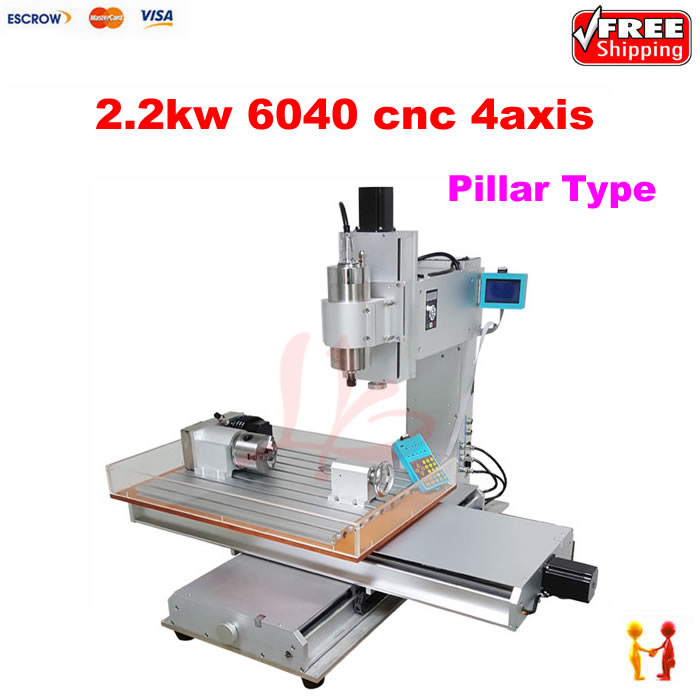 Pillar type 6040 router CNC Machine CNC6040 2.2KW sotne wood metal Cutting Machine with water sink,High precision цена