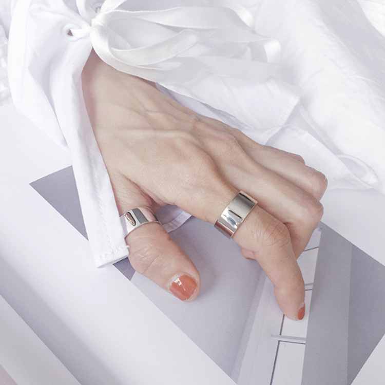 Bohemian Vintage Silver Color Shiny Punk Rings for Women Bijoux Fashion Adjustable Size Finger Rings Anillos Mujer 3