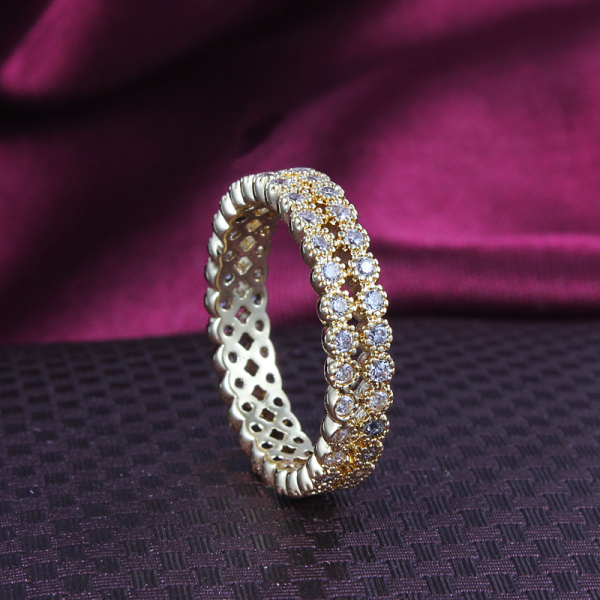 gold 2 line zircon ring wholesale filled for women wedding party fashion jewelry factory free shipping 3