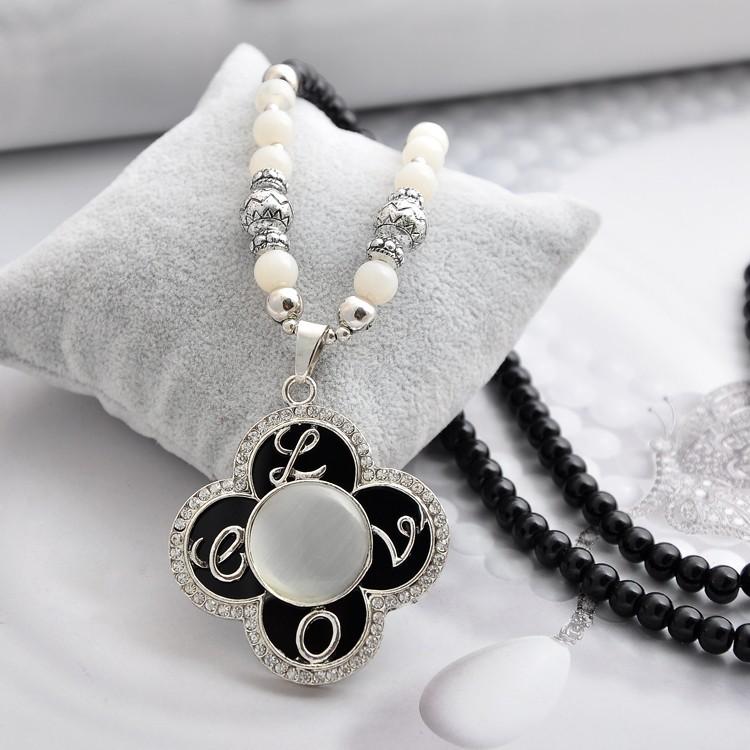 горячая распродажа элементы усо 4 листа Clever листья ожерелье ювелирные изделия кристалл бесплатная доставка оптовая продажа много