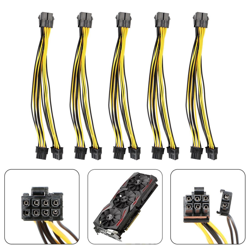 PCI-E 8-pin to 2x 6+2-pin Power Splitter Cable PCIE PCI Express 5X 5-pack