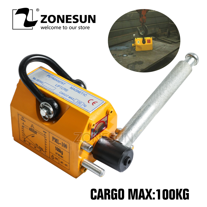 ZONESUN 100kg Portable Permanent Magnetic Lifte Metal Lifting Tool Steel Sheet Magnet Lifter Lifting Crane Accessories Tool