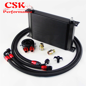 AN8 25 Satır 248mm Evrensel Motor şanzıman Yağ Soğutucusu İngiliz Tipi + Alüminyum Filtre Hortum Ucu Takımı Siyah/mavi