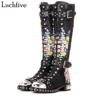 2018 Newest Rivets studded long boots leather & flock printed flowers Motorcycle Boots Round toe buckled strap bota feminina
