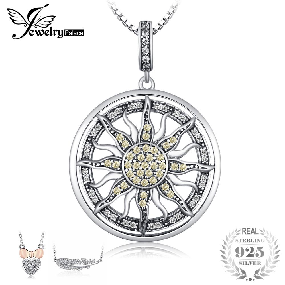 JewelryPalace 925 Sterling Silver Pendants Necklace Yellow White CZ Sun Pendant Necklace Charm For Women Without ChainJewelryPalace 925 Sterling Silver Pendants Necklace Yellow White CZ Sun Pendant Necklace Charm For Women Without Chain