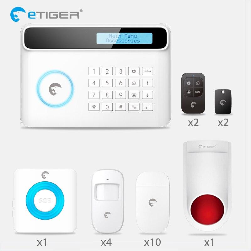 ETIGER S4 systèmes d'alarme sans fil GSM sécurité à domicile IOS Android APP système d'alarme intelligent cambrioleur GSM avec détecteur PIR