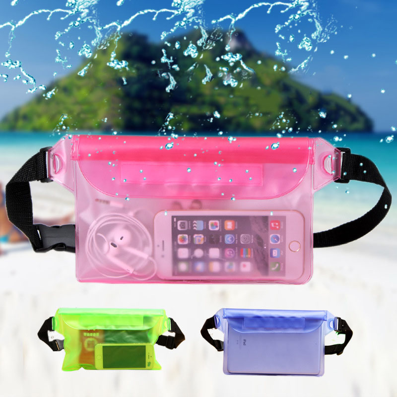 <font><b>Waterproof</b></font> Swimming Bag Ski Drift Diving Shoulder Waist Pack Bag Underwater Mobile Phone Bags Case Cover For Beach Boat Sports image