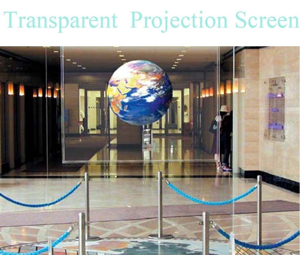 1.52x0.5m/60x20 Self Adhesive Holographic Rear Projection Screen Material Film Project Image Videos Display Stickers 18 5 dark gray and light gray and white and transparent holographic rear projection film