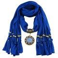 Hot Women's Autumn Winter Scarves Circle Pendant Color Rhinestone Jewelry Necklace Scarf Lady Tassel Warm Scarf  Bufandas Mujer