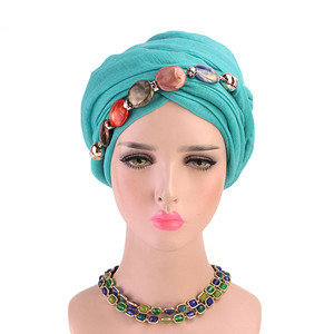 Image 3 - 2019 イスラム教徒ビーズストレッチターバンフリル髪帽子ビーニーバンダナスカーフ帽子女性のための 23