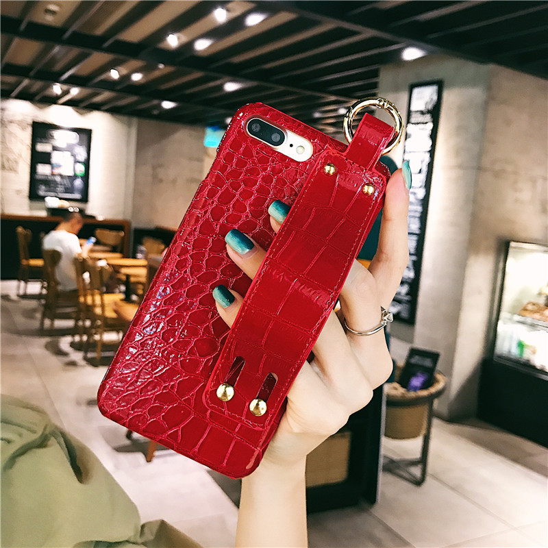 Red phone case with hand strap