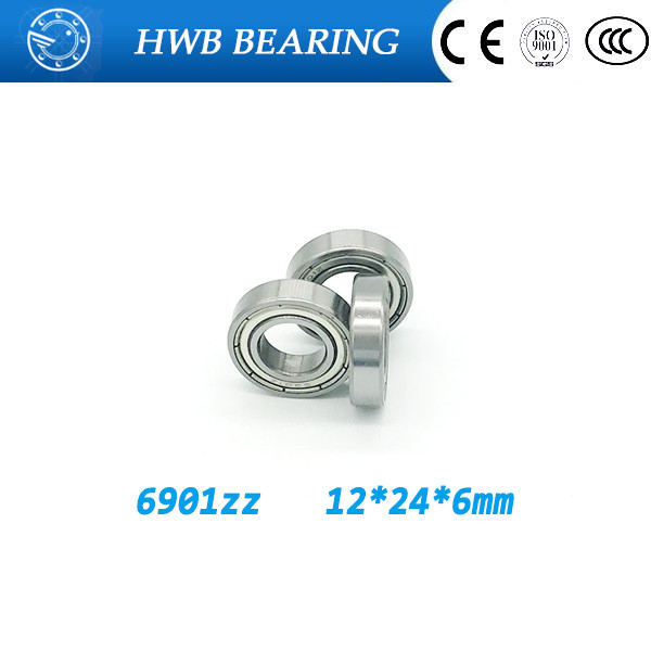 Free shipping 10pcs/Lot  6901ZZ  12x24x6mm Metric thin wall deep groove ball bearing  61901 6901 zz best price 10 pcs 6901 2rs deep groove ball bearing bearing steel 12x24x6 mm