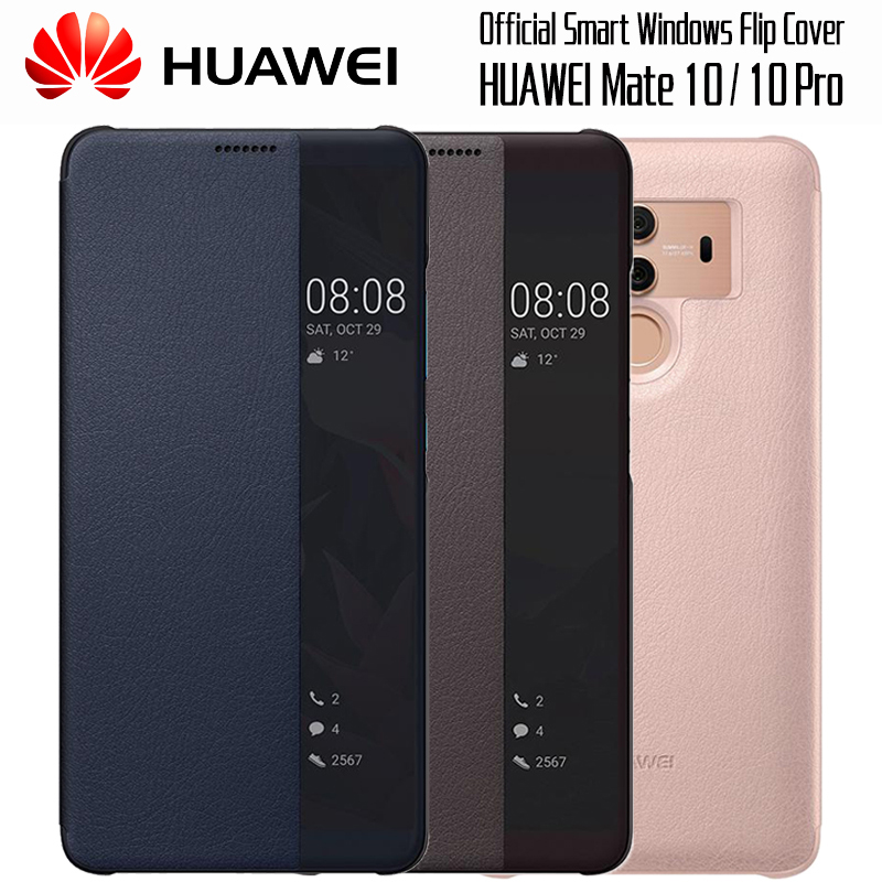 HUAWEI MATE 10 Case 100% Official Original Smart View Cover HUAWEI MATE 10 Pro Case Mirror Window Flip Leather Cover Funda