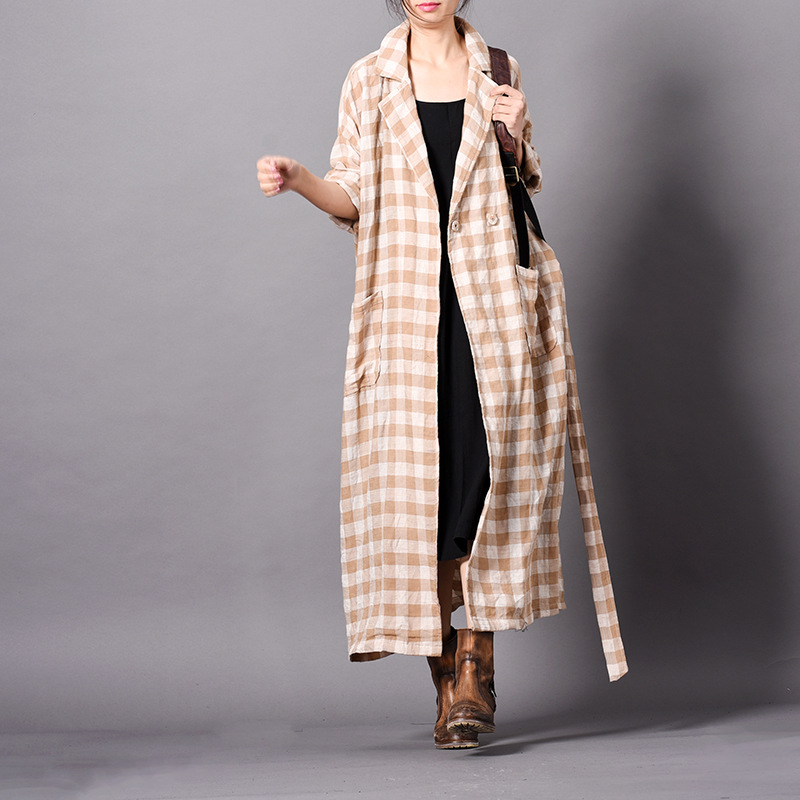 Johnature Vintage Plaid Long Plus Cotton Linen Trench 2019 New Spring Turn down Sashes Button 3 Colors Pockets Women Coats-in Trench from Women's Clothing    2