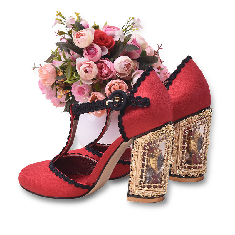 Т образным Ремешок на щиколотке обувь клетке женские туфли лодочки круглый носок высокий толстый каблук Туфли лодочки квадратный каблук Ве