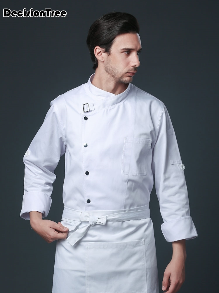 2020 Men Women Oblique Collar Single Breasted Full Sleeves Spliced Kitchen Cuisine Bakery Chef Uniforms Chef Jackets