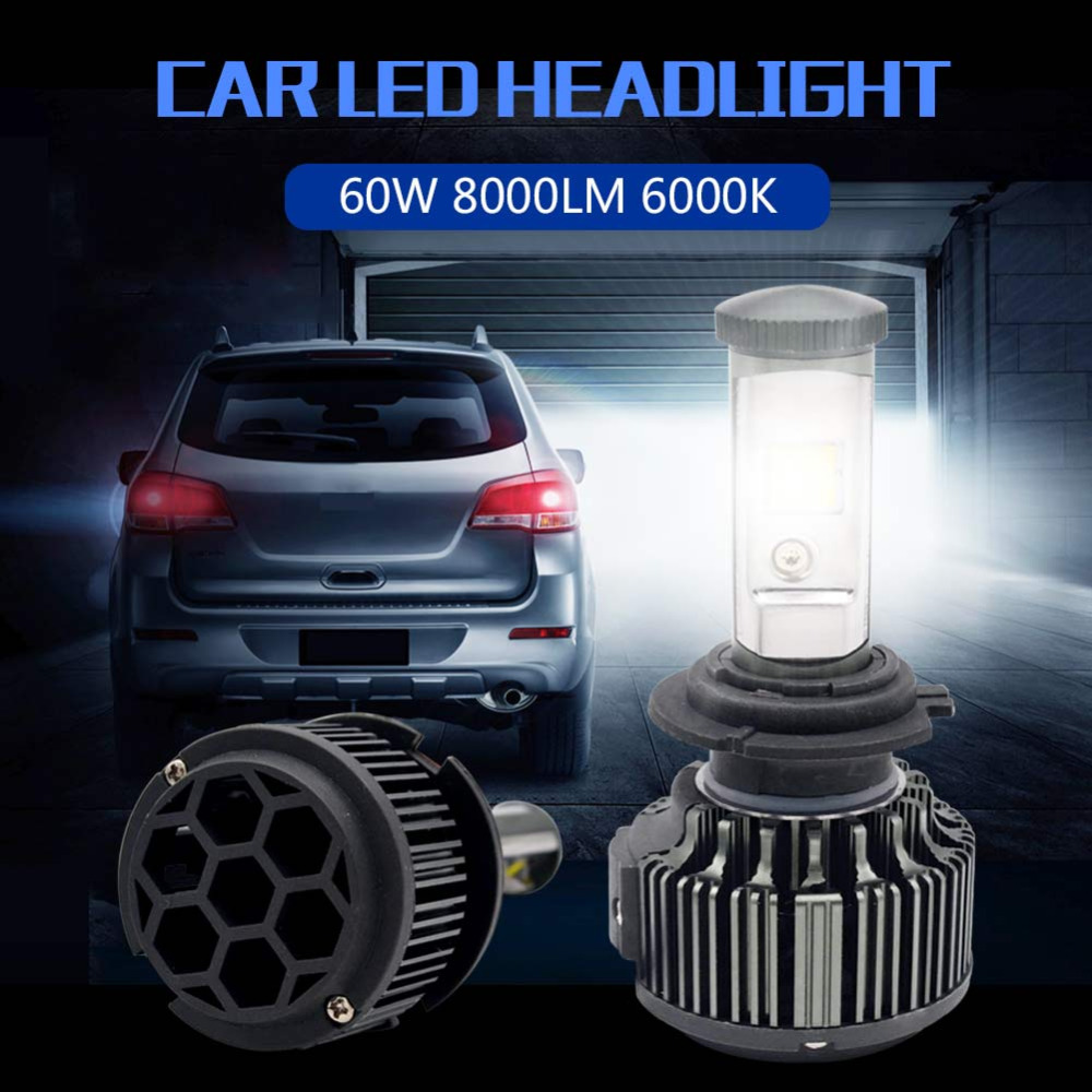 2 Pcs Car Light H7 Led H4 H11 H8 H9 H13 9005 HB3 9006 HB4 9007 60W 7600LM Canbus Function 9007 H13 H4 Hi Lo Beam Automobile car led headlight bulbs all in one h7 h11 h1 hb3 hb4 9005 9006 55w 8000lm h4 h13 9007 hi lo waterproof high low beam lights